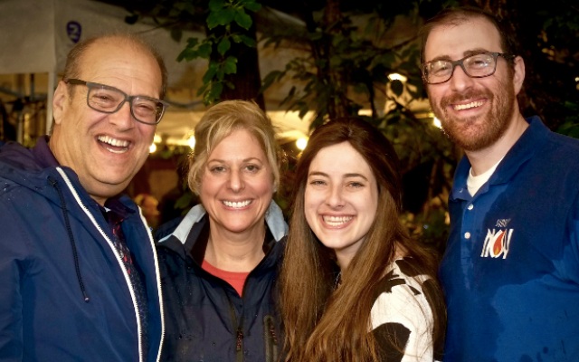 Local NCSY chapter advisor Rabbi Chaim Strassman, who worked through the rain to make it happen, pictured here with his wife and in-laws. From left: Bruce Horvitz, Deborah Winn-Horvitz, Lindsey Strassman and Rabbi Chaim Strassman. (Photo by S. Riemer)