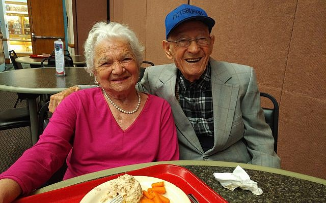 Bronia Weiner, 98, and Manny Kolski, 103, both of Squirrel Hill, enjoy a friendly lunch at J Cafe. (Photo by Adam Reinherz )