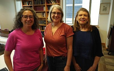 Alison Karabin, Jewish Residential Services project manager for young adults in transition; Mara Kaplan, co-chair of Temple Sinai's Disabilities Taskforce; and Cantor Michal Gray-Schaffer participated in the June 20 meeting.(Photo by Adam Reinherz)