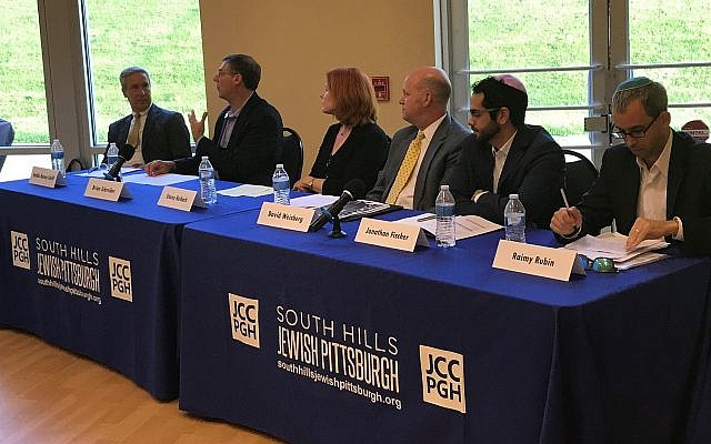 The panel featured, from left, Rabbi Danny Schiff, Foundation Scholar; Brian Schreiber, president and CEO of the JCC; Stacey Reibach, board member of Beth El Congregation of the South Hills; David Weisberg, president of Temple Emanuel of South Hills; Jonathan Fischer, vice chair of SHJP; and Raimy Rubin, manager of the Pittsburgh Jewish Community Scorecard. (Photo courtesy of David Rullo)