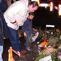 Visitors view a memorial for the slain Theo van Gogh in Amsterdam. (Photo courtesy of Wikimedia Commons)