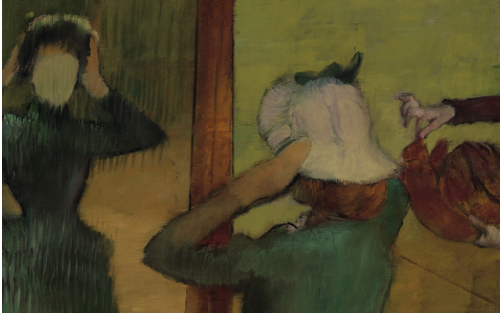 """""""At the Milliner"""" (ca. 1882-1885).  Painting by Edgar Degas"""