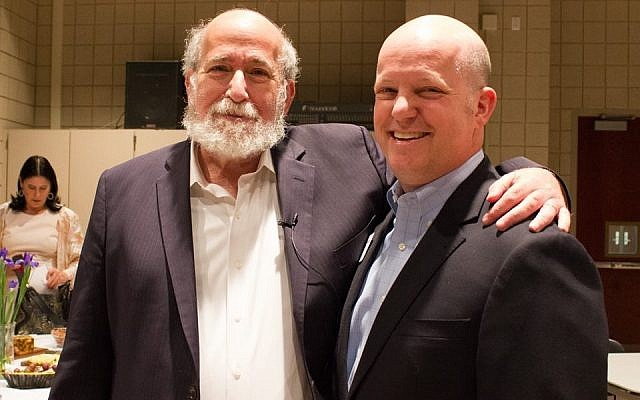 Temple Emanuel President David Weisberg (right) with Rabbi Joseph Telushkin. (Photo courtesy of Temple Emanuel)