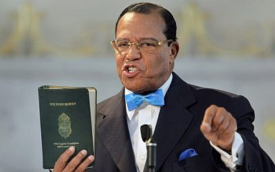 Louis Farrakhan speaking at a news conference at the Mosque Maryam in Chicago, March 31, 2011. (Photo by Scott Olson/Getty Images)