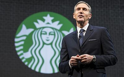 Howard Schultz speaking at a Starbucks annual shareholders meeting in Seattle, March 18, 2015. (Photo by Stephen Brashear/Getty Images)