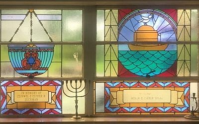 Stained-glass windows are in abundance at Beth Sholom Congregation in Johnstown. (Photo by Jonah Berger)