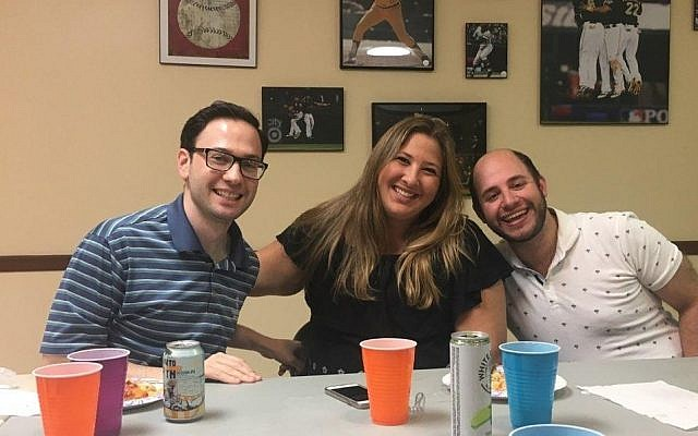 Host Bryon Miller (left) with Rachel Goffman and Ross Kressel. (Photo courtesy of OneTable guests)