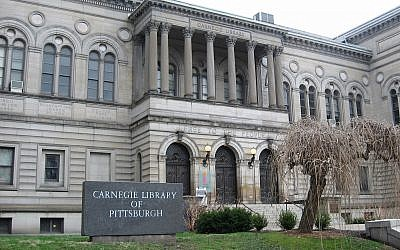 The front entrance of the Carnegie Library of Pittsburgh. (Photo by Shizzy9989/ Wikimedia Commons)