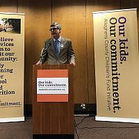 Patrick Dowd, executive director, Allies for Children, at a press conference announcing the ballot initiative for the Allegheny County Children's Fund. (Photo by Lauren Rosenblatt)
