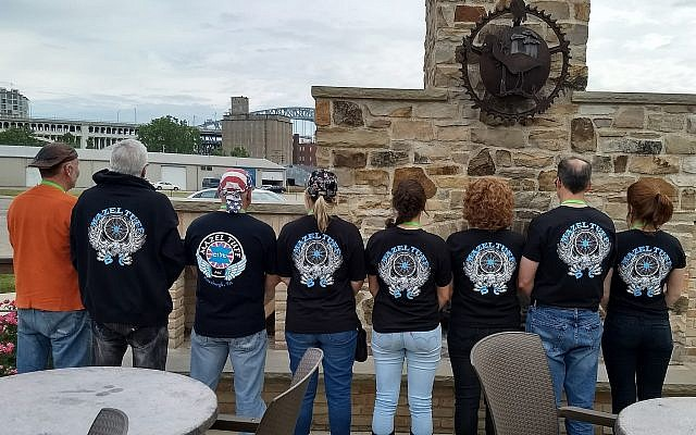 The Mazel Tuff Biker Club members in their club jackets and shirts. (Photo courtesy of Sally Levenson)