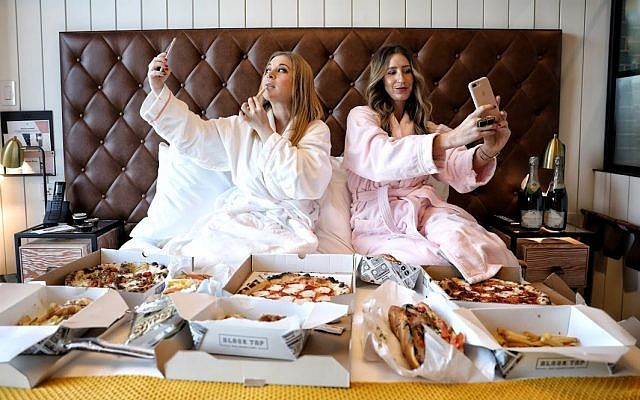 Rayna Greenberg and her Girls Gotta Eat cohost at the Hotel Williamsburg. (Photo by  Jeremy Jacobowitz, courtesy of Rayna Greenberg)