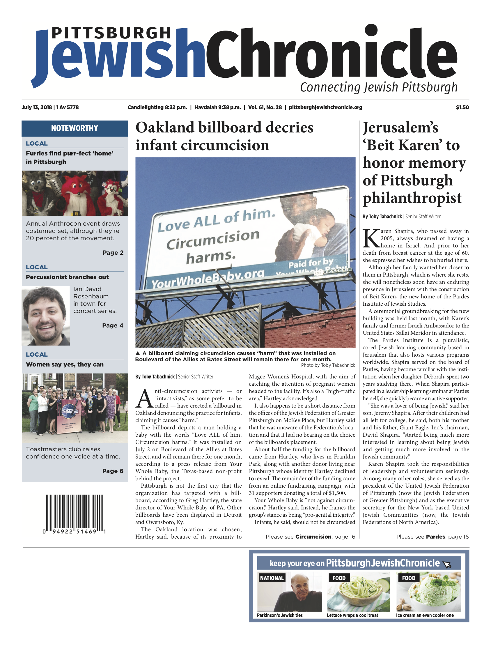 Pittsburgh Jewish Chronicle 7/13/2018