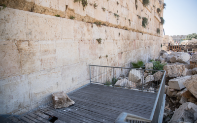 A large chunk of stone dislodged from the Western Wall at the mixed-gender prayer section in Jerusalem, Israel, July 23, 2018. (Photo by Yonatan Sindel/Flash90)