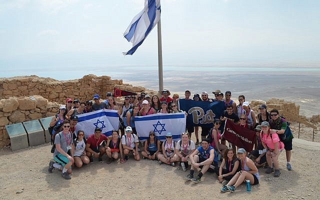 Students from University of Pittsburgh, Carnegie Mellon and Duquesne University on a Birthright trip. (Photo courtesy of Hillel Jewish University Center)