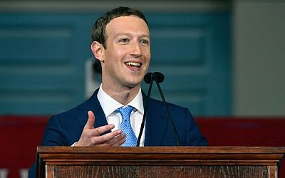"Mark Zuckerberg delivering a commencement speech at Harvard University in Cambridge, Mass., May 25, 2017. He quoted the ""Mi Shebeirach"" prayer in his speech. (Photo by Paul Marotta/Getty Images)"