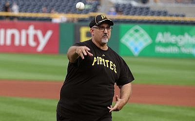 Richard Wilson, winner of the new lottery to throw the first pitch at the Pittsburgh Pirates' Jewish Heritage Night, ceremonially gets the Aug. 16 game against the Chicago Cubs started. (Photos courtesy of Dave Arrigo, Pittsburgh Pirates)