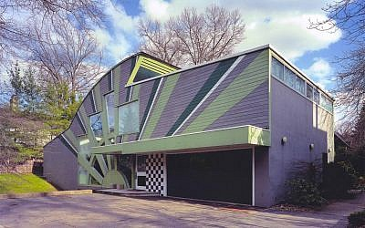 The house was designed by Robert Venturi and Denise Scott Brown in the 1980s, and is known for its unique postmodern style. (Photo courtesy of the Rauh Jewish History Archives)