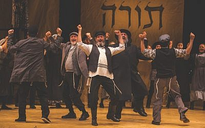 "It isn't the squishy ""tradition"" that Tevye, played by Steven Skybell, center, is upholding, it's the Torah. (Photo by Victor Nechay/ProperPix)"