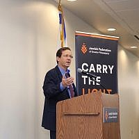 Isaac Herzog, shown speaking Aug. 8, 2018 at the Jewish Federation of Greater Philadelphia, called for unity and pluralism in his first U.S. visit as chair of the Jewish Agency for Israel. (Photo courtesy of JAFI)