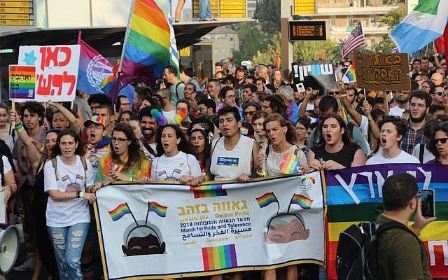 Tens of thousands march through the streets of Jerusalem in the annual Pride Parade, Aug. 2, 2018. (Photo by Adi Eddy/Courtesy of Jerusalem Open House for Pride and Tolerance)