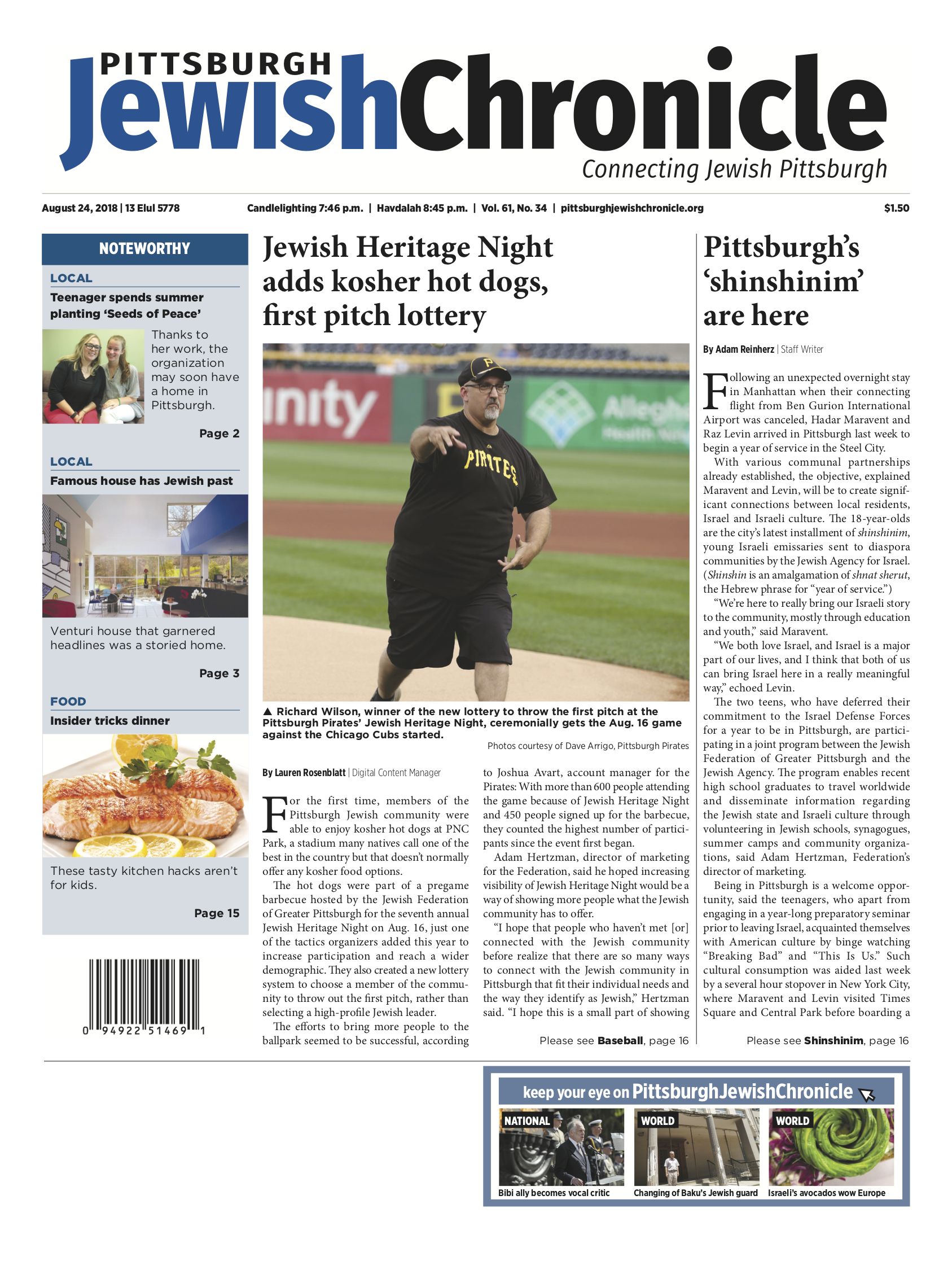 Pittsburgh Jewish Chronicle 8/24/2018