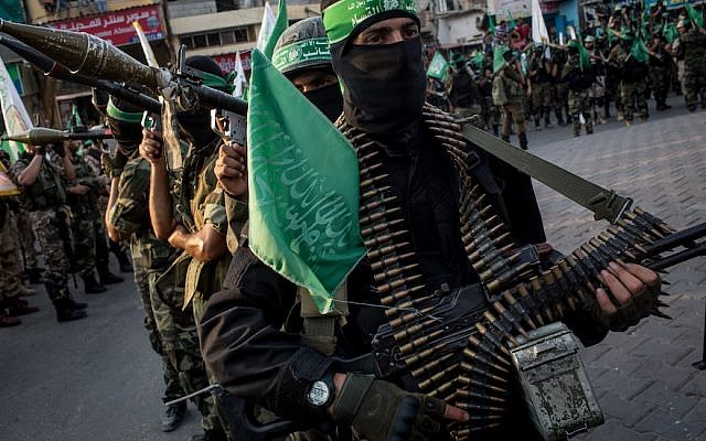 Hamas militants are seen during a military show in Gaza City, July 20, 2017. (Photo by Chris McGrath/Getty Images)