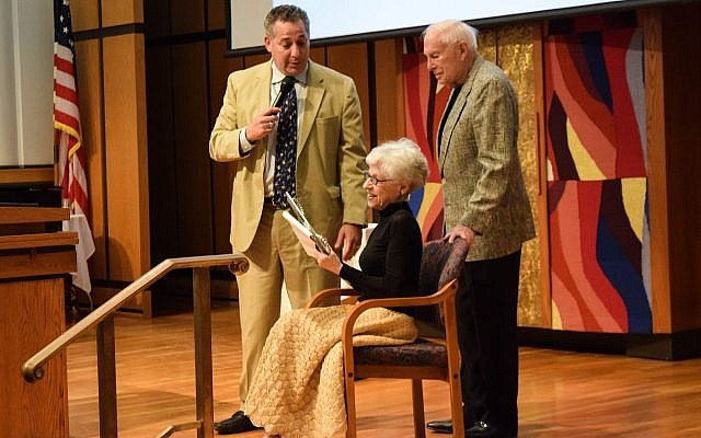 Rabbi Aaron Bisno, of Rodef Shalom Congregation, Ruth Westerman and her husband, Bob Myers. (Photo by Mosaic Photography for Rodef Shalom)