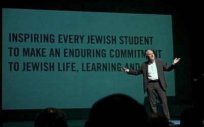 Hillel International CEO Eric Fingerhut took the stage with a FED Talk about inspiring organizational transformation. (Photo by Sanford Riemer)