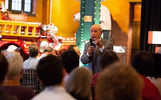 Ervin Staub, a Holocaust survivor and professor of psychology at the University of Massachusetts Amherst, gave a lecture at the Heinz History Center on Thursday, Sept.  13. (Photo by Melanie Friend Photography/ courtesy of the Holocaust Center of Pittsburgh)