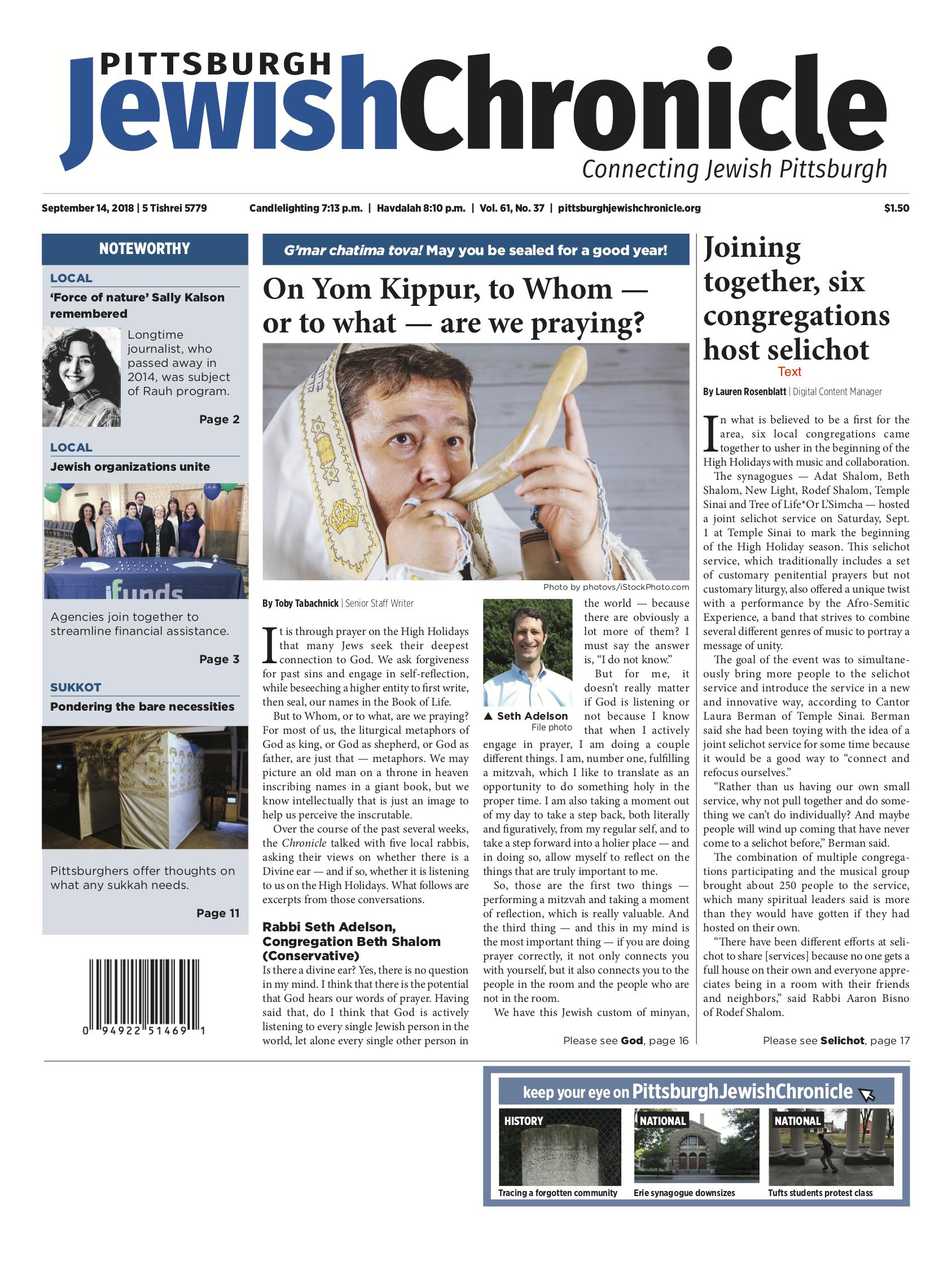 Pittsburgh Jewish Chronicle 9/14/2018