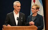 Chicago Mayor Rahm Emanuel, with wife Amy, announces that he will not seek a third term at a City Hall news conference. (Photo by Stacey Wescott/Chicago Tribune/TNS via Getty Images)