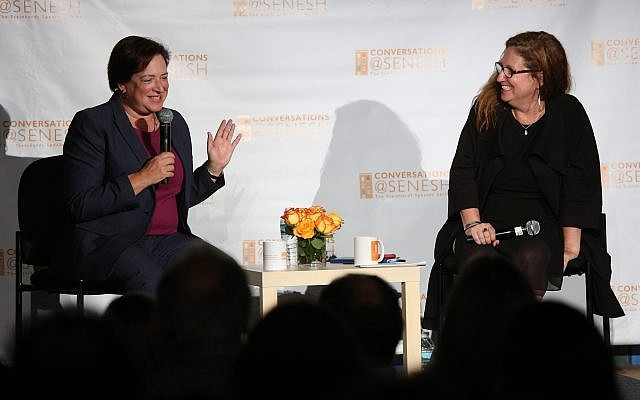 Elena Kagan, left, speaks with journalist Dahlia Lithwick at the Hannah Senesh Community Day School in Brooklyn, N.Y. (Photo by Matthew Sussman for Hannah Senesh Community Day School)