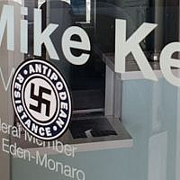 A swastika sticker was left on the office door of Australian lawmaker Mike Kelly. (Photo by J-Wire)