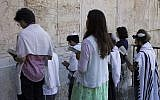 Conservative Jews praying at Robinson's Arch in Jerusalem, July 30, 2014. (Photo by Robert Swift/Flash90)