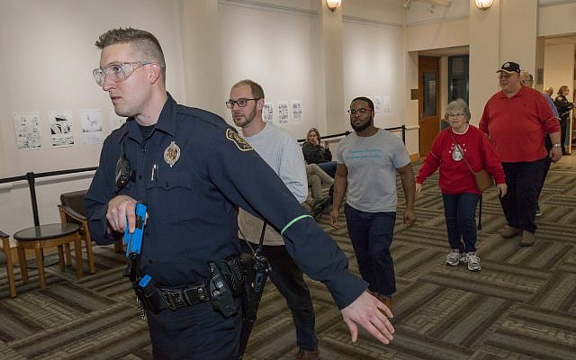 Active threat drill held at the JCC January 2018  (Photo by Elan S. Mizrahi for the Jewish Federation of Greater Pittsburgh)