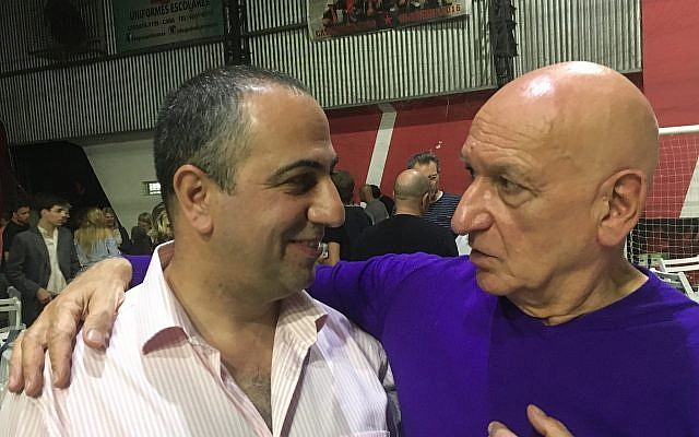 """Avner Avraham (left) is joined by Sir Ben Kingsley, who played Nazi Adolf Eichmann in the 2018 film """"Operation Finale."""" Photos courtesy of Avner Avraham"""