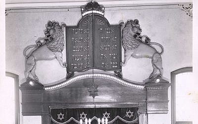 A group of young Jewish women in New Castle commissioned these Lions of Judah to adorn the ark of the Tifereth Israel synagogue on Jefferson Street. The sculpture now hangs in the sanctuary of B'nai Abraham Congregation in Butler.   (Photo courtesy of the Rauh Jewish History Program & Archives.)