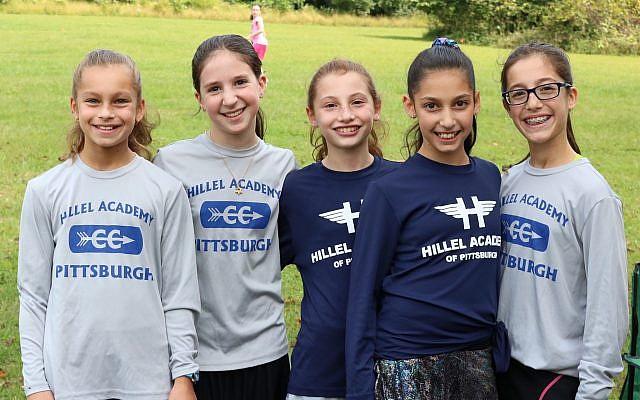 From left: Varsity and junior varsity girls runners Sima Reinherz, Yehudis Kanal, Kayla Weinberg, Lori Ziff and Tahara Reinherz. (Photo courtesy of Hillel Academy of Pittsburgh)