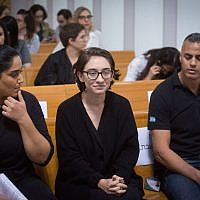 Lara Alqasem, a 22-year-old American graduate student, arrives to the courtroom at the Supreme Court in Jerusalem on October 17, 2018. The American graduate student is held in detention at Israel's international airport over allegations that she promotes a boycott against the Jewish state.  (Photo by Miriam Alster/Flash90)
