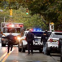 Police respond to the site of a mass shooting at the Tree of Life Synagogue in the Squirrel Hill neighborhood of Pittsburgh, Oct. 27, 2018. (Photo by Jeff Swensen/Getty Images)