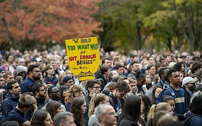 Students unite at the University of Pittsburgh one week after the Tree of Life attack. (Photo courtesy of University of Pittsburgh)