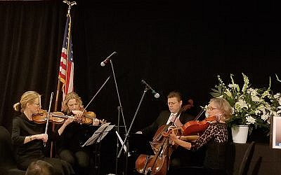 Members of the Clarion Quartet perform at the community shloshim.  (Photo by Adam Hertzman)