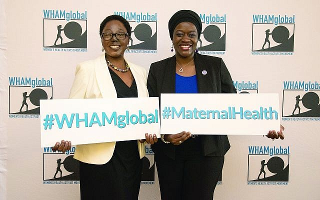 Hanifa Nakiryowa, MID, a global health associate for WHAMglobal and the Jewish Healthcare Foundation, and Tausi Suedi, MPH, co-founder and CEO of Childbirth Survival International, encourage people to continue the conversation on creating a world-class maternal and infant health care system. (Photo by Scotland Huber, Jewish Healthcare Foundation)