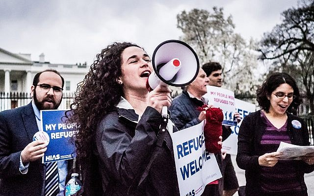 Activist Michele Freed, center, and other young professionals protest with HIAS in front of the White House in 2017. (Photo by Katie Jett Walls)