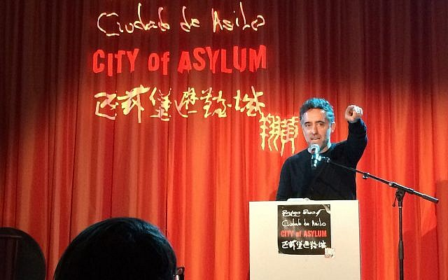 Pulitzer Prize-nominated writer Nathan Englander speaks at City of Asylum on Oct. 24. (Photo by Toby Tabachnick)