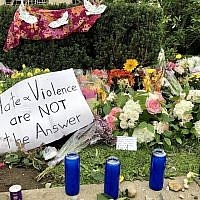 A portion of a memorial outside the Tree of Life building (Photo by Jim Busis)