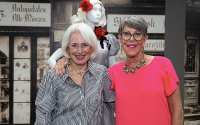 Previewing the exhibit, Karen Wolk Feinstein and Jane Wolk Spector. (Photo by Melanie Friend Photography)