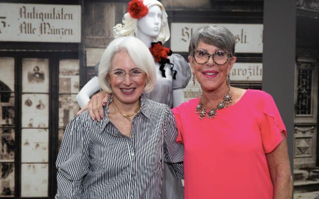 Previewing the exhibit, Karen Wolk Feinstein and Jane Wolk Spector. (Photo by Melanie Friend Photography)