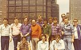 Sylvia Robinson (crouched, center) with the 1976 class of Israel war veterans, standing outside of the U.S. Steel building in downtown Pittsburgh. Photo courtesy of Rauh Jewish History Program & Archives