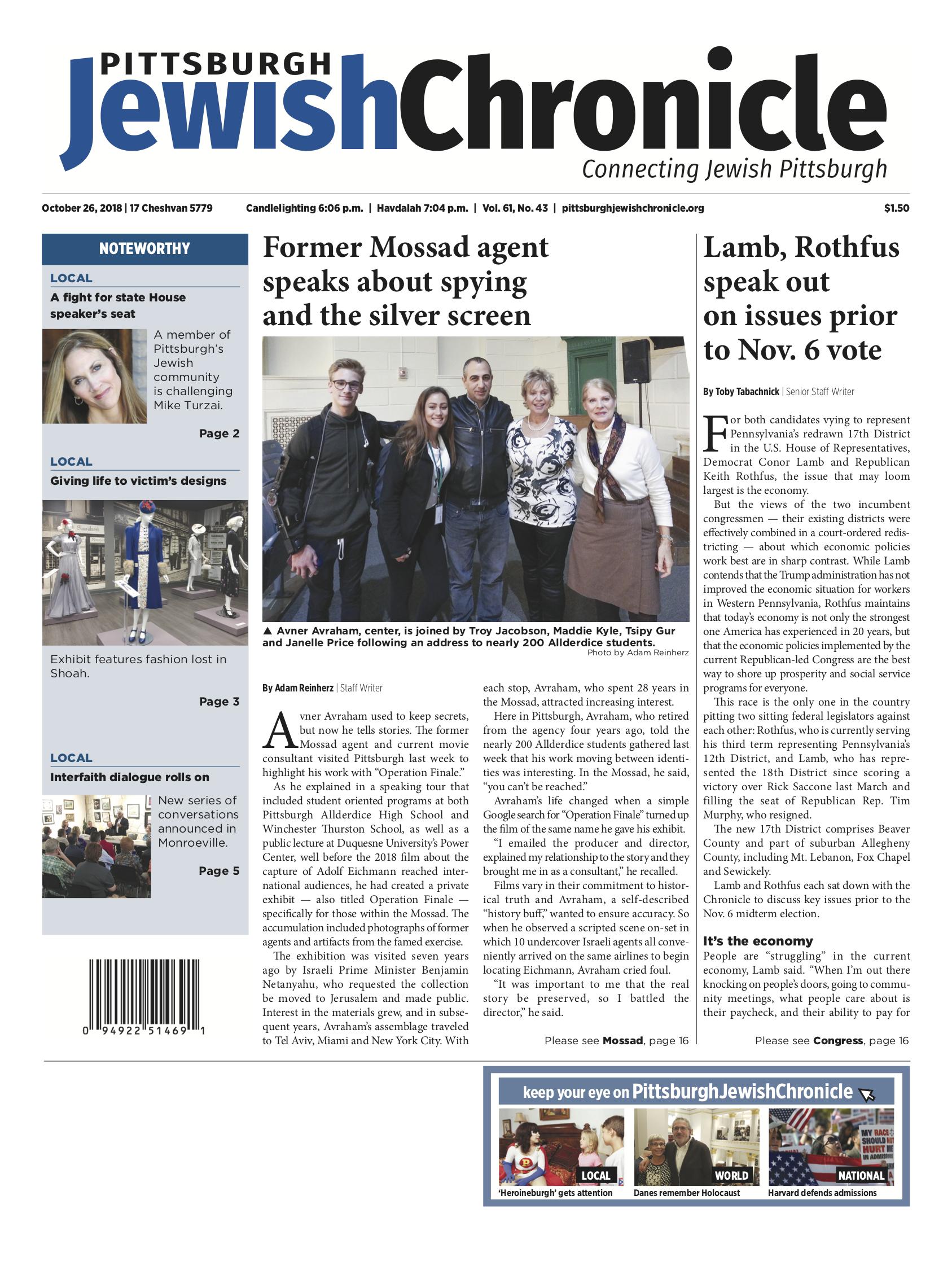 Pittsburgh Jewish Chronicle 10/26/2018